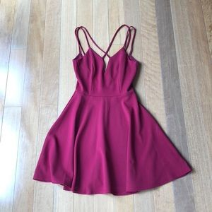 Maroon fit and flare criss cross dress